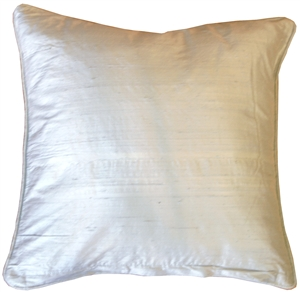 Dupioni Silk 17-Inch Square Powder Blue with Piping Throw Pillow