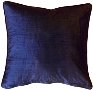 Dupioni Silk 17-Inch Square Navy Blue with Piping Throw Pillow