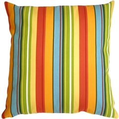Bistro Stripes Azalea Outdoor Pillow