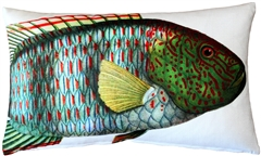 Maori Wrasse Fish Pillow 12x20