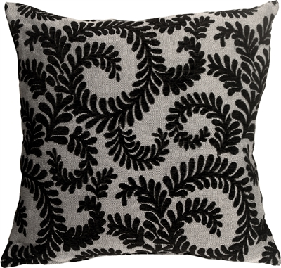 Brackendale Ferns Black Throw Pillow
