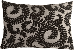 Brackendale Ferns Black Rectangular Throw Pillow