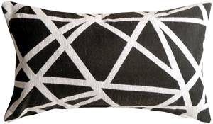 Criss Cross Stripes Black Rectangular Throw Pillow