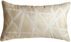 Criss Cross Stripes Cream Rectangular Throw Pillow