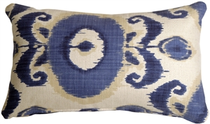 Bold Blue Ikat 12x20 Decorative Pillow