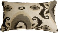 Bold Gray Ikat 12x20 Decorative Pillow