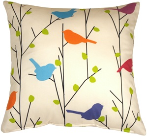 Spring Birds 15x15 Decorative Pillow