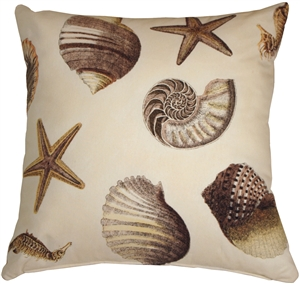 Sea Shells Brown 22x22 Throw Pillow