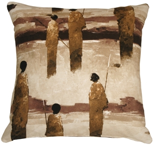 Masai Warrior 22x22 Brown Throw Pillow