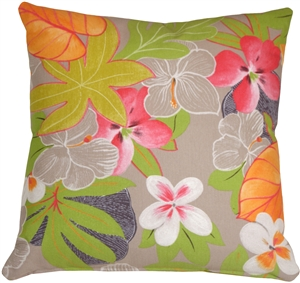 Hawaii Garden 20x20 Floral Throw Pillow