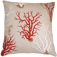 Red Coral 21x21 Decorative Pillow