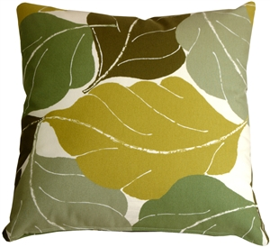 Autumn Leaves 20x20 Green Throw Pillow