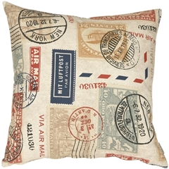 Vintage Postage Stamp Multicolor 22x22 Throw Pillow