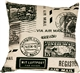 Vintage Postage Stamp Gray 18x18 Throw Pillow
