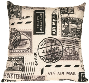 Vintage Postage Stamp Gray 22x22 Throw Pillow