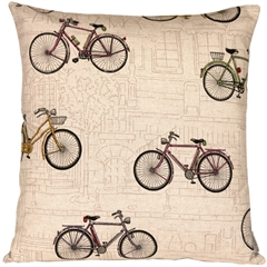 Vintage Bicycle 22x22 Throw Pillow