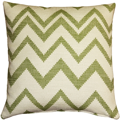 Lorenzo Zigzag Green 20x20 Throw Pillow
