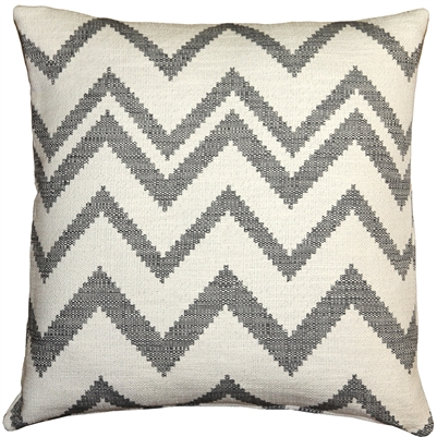 Lorenzo Zigzag Gray 20x20 Throw Pillow