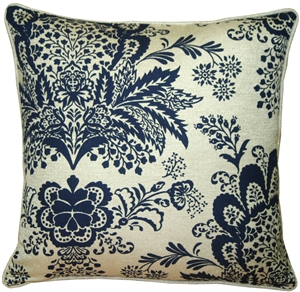 Rustic Floral Blue 20x20 Throw Pillow
