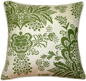 Rustic Floral Green 20x20 Throw Pillow
