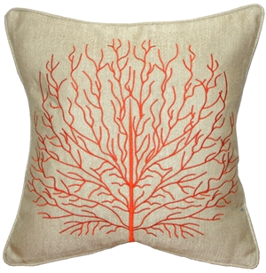 Fire Coral Orange 17x17 Throw Pillow