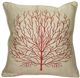 Fire Coral Red 17x17 Throw Pillow