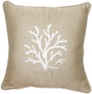 Sea Coral in Cream 17x17 Throw Pillow