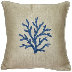Sea Coral in Blue 17x17 Throw Pillow
