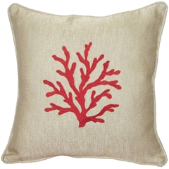 Sea Coral in Red 17x17 Throw Pillow