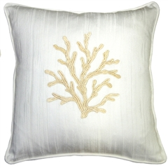 Sea Coral in White and Champagne 17x17 Throw Pillow
