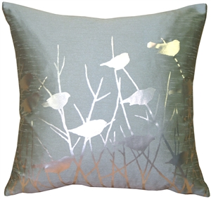Pillow Decor - Metallic Birds Blue Haze Throw Pillow