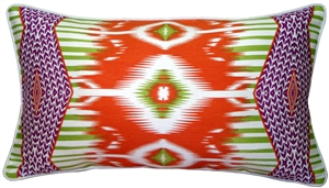 Eclectic Ikat Orange 15x27 Throw Pillow