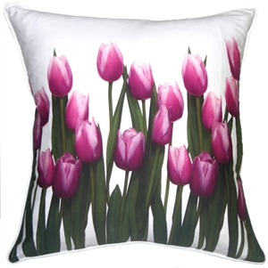 Vibrant Magenta Tulips 19x19 Throw Pillow