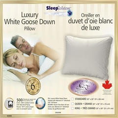 Queen Soft Luxury Goose Down Bed Pillow