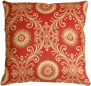 Filigree Tomato Red 17x17 Throw Pillow