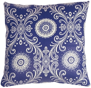 Filigree Blue 17x17 Throw Pillow