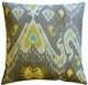 Solo Gray Ikat Throw Pillow 20x20