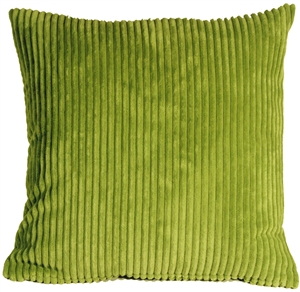 Wide Wale Corduroy Apple Green 22x22 Throw Pillow