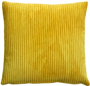 Wide Wale Corduroy Golden Yellow 22x22 Throw Pillow