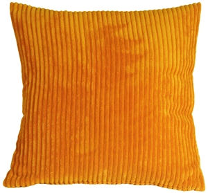 Wide Wale Corduroy Tangerine Orange 18x18 Throw Pillow