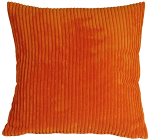 Wide Wale Corduroy 22x22 Papaya Orange Throw Pillow