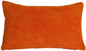 Wide Wale Corduroy 12x20 Papaya Orange Throw Pillow