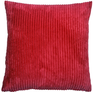 Wide Wale Corduroy 22x22 Raspberry Red Throw Pillow