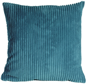 Wide Wale Corduroy Marine Blue 22x22 Throw Pillow