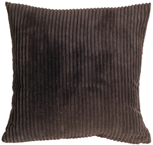 Wide Wale Corduroy 22x22 Earth Brown Throw Pillow