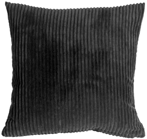 Wide Wale Corduroy 18x18 Black Throw Pillow