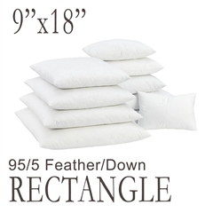 "9""x18"" Rectangular Feather Down Pillow Form"
