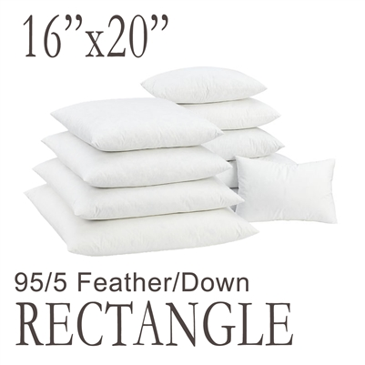 "16""x20"" Rectangular Feather Down Pillow Form"