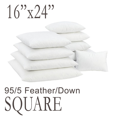 "16""x24"" Rectangular Feather Down Pillow Form"