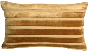 Monroe Velvet Stripes 12x20 Gold Throw Pillow